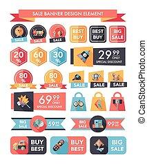 Toy sale banner design flat background set, eps10