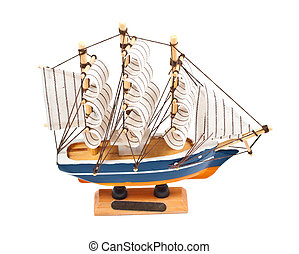 toy ship isolated on a white