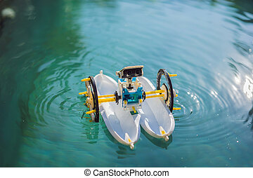 Toy ship robot in a blue pool