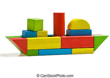 toy ship wooden blocks, shipping multicolor freight, isolated