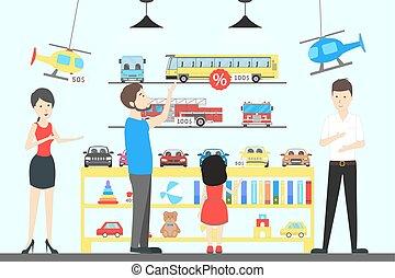 Toy shop interior.