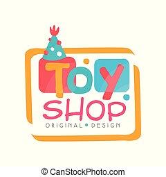 Toy shop logo original design, kids store, baby market badge vector Illustration on a white background