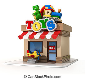 Toy shop mini store 3d rendering isolated illustration