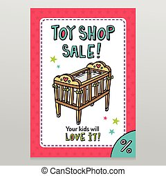 Toy shop vector sale flyer design with baby crib