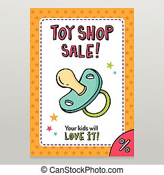 Toy shop bright vector sale flyer design with pacifier isolated on white with orange starry pattern background