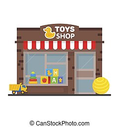 Toy shop window display, exterior building, kids toys vector illustration