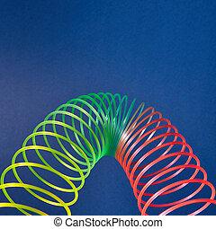 toy., slinky, coloreado, parábola, geométrico
