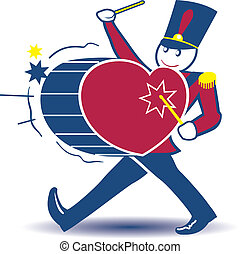 Toy Soldier marching while beating a heart-shaped drum