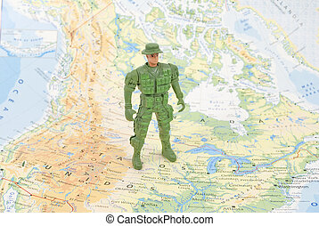 toy soldier on world map