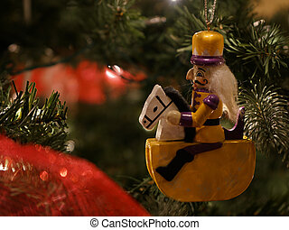 Toy soldier ornament on a Christmas Tree