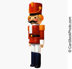 Toy Soldier wooden Nutcracker in red uniform, hat three...