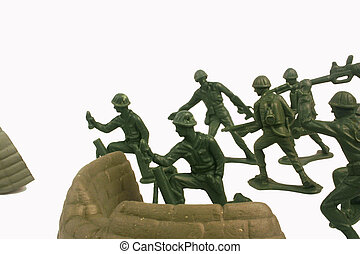 Toy Soldiers Battle - Green toy soldiers charging into...