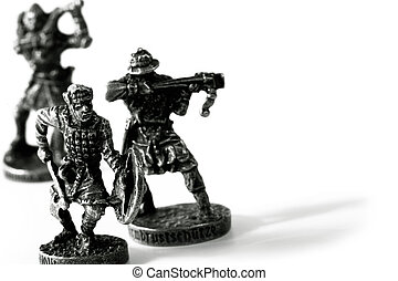 toy soldiers in battle  over white with shadow