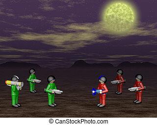 Toy soldiers in dark land