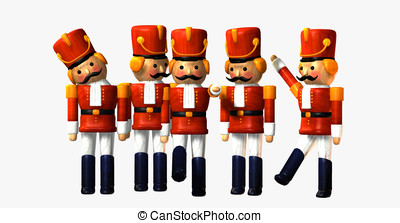 Toy Soldiers on white background - Five Wooden toy soldiers...