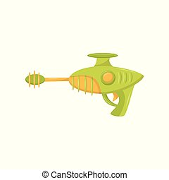 Toy space blaster, weapon pistol for kids game vector...