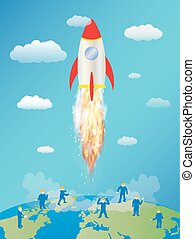 toy space rocket launching