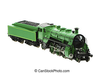 Toy Steam Locomotive - Isolated toy steam locomotive with a...