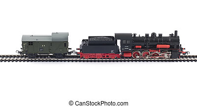 Toy Steam Train and freight car