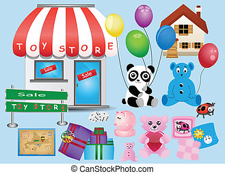 toy store  - different children`s toy