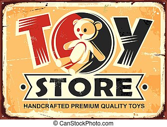 Toy store vintage metal sign