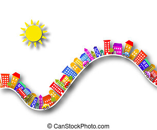 Toy street - Cutout illustration of colorful buildings with...