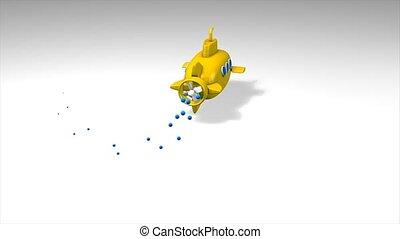 Toy submarine - Fun animation, toy submarine.