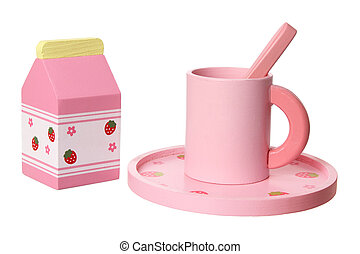 Toy Tableware on White Background