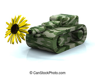 toy tank and flower - mimetic toy tank firing yellow...