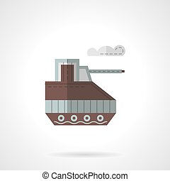 Toy tank flat color vector icon