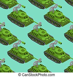 Toy Tank isometric seamless pattern. Military vehicle toy clockwork background. Army machinery background