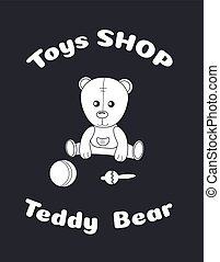 Toy teddy bear in overalls with a ball and rattle. Silhouette sticker. Suitable for window dressing of children's stores, play areas, cutting on a plotter. Vector illustration