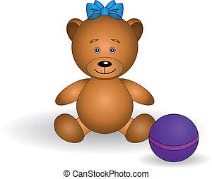 Toy teddy bear with a ball