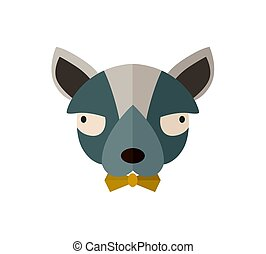 Toy terrier head icon in flat design