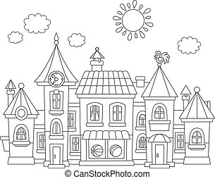 Toy town - Black and white vector illustration of a toy town