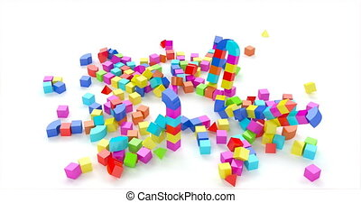 Toy town colored cubes in 3d style on red background. Blue, green, yellow color. City background.