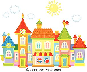 Toy town - Vector illustration of a toy town with colorful...