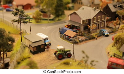 Toy town village cars