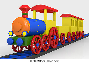 Toy train, 3d image of a colorful locomotive, wagons and ...