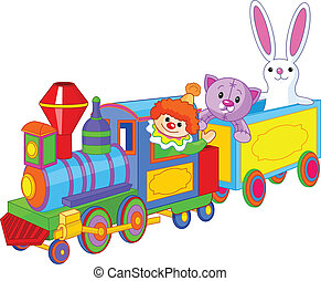 Toy train. Clown, cat and bunny sitting in the train