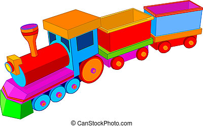 Beautiful multi colored toy train