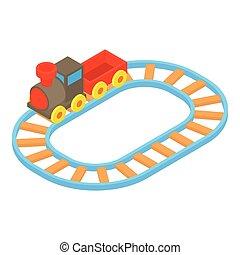Toy train icon, cartoon style