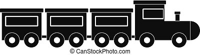 Toy train icon, simple style.