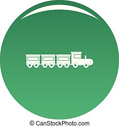 Toy train icon vector green
