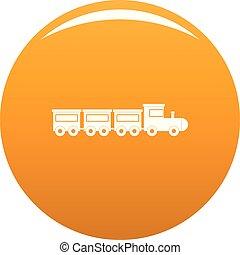 Toy train icon vector orange