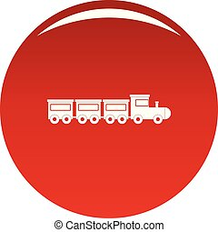Toy train icon vector red