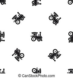 Toy train pattern seamless black
