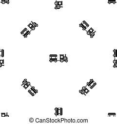 Toy train pattern seamless black