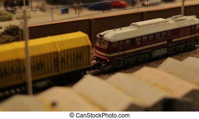 Toy train railroad town focus