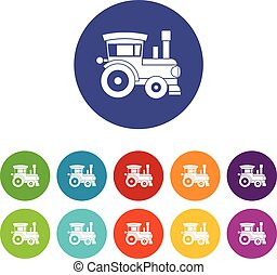 Toy train set icons
